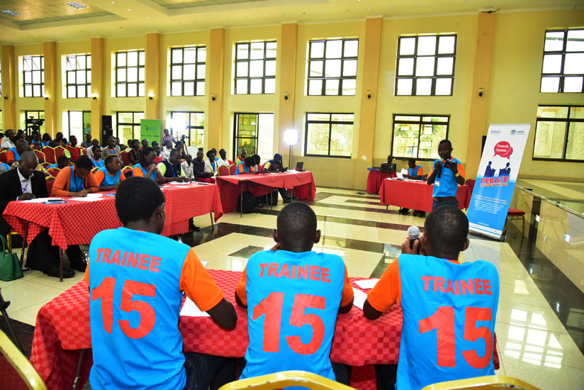 Participants during the two-day debate competition, which saw 18 youth centres and hostels from the nation, compete for the title Rwanda Speaks Champions (Courtesy)