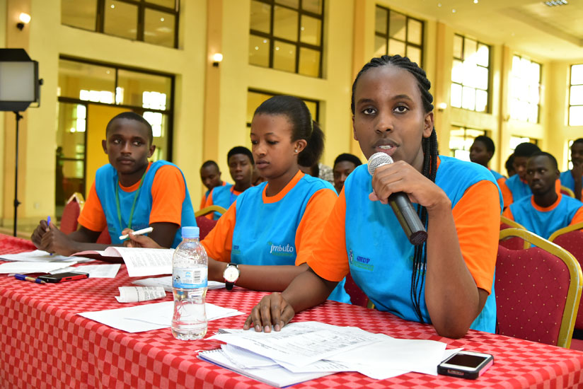 Judges deliberating during the Rwanda Speaks debate competition, which was held in partnership with Imbuto Foundation and Global Humanitarian and Development Foundation (Courtesy)